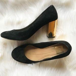 Black Round-Toe Pumps with Metallic Gold Heels DV